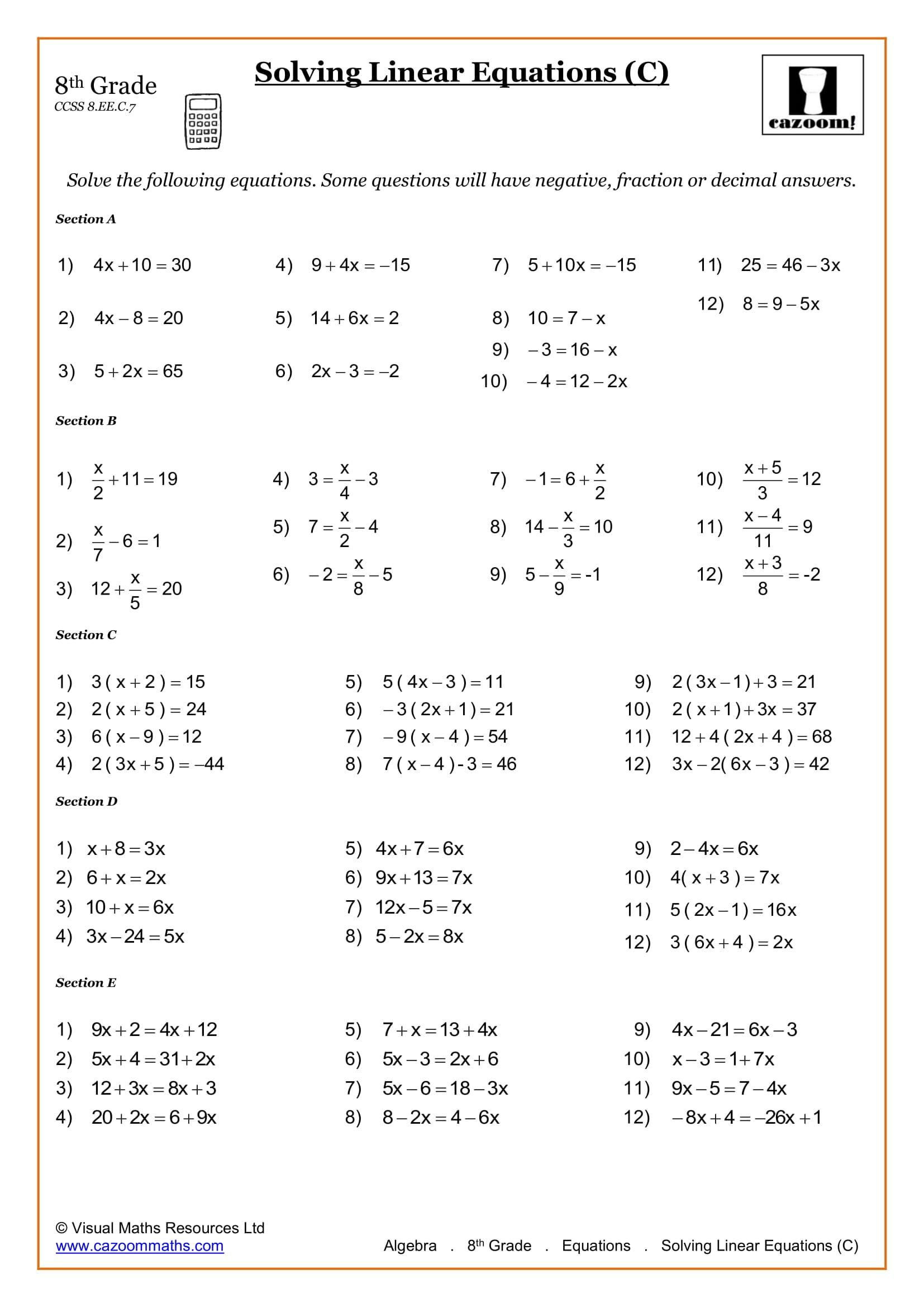 8th Grade Math Worksheets | Printable PDF Worksheets